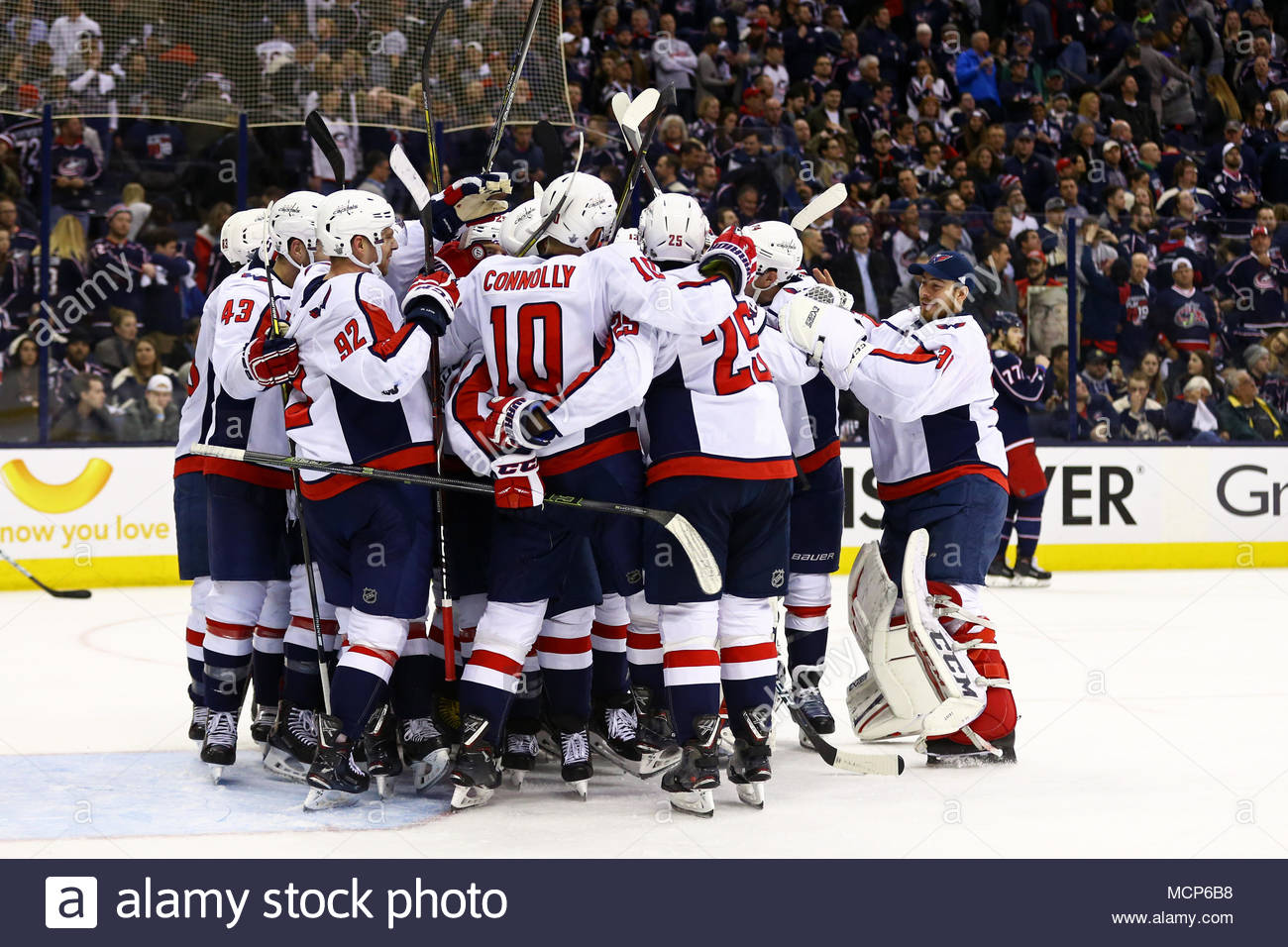 The Washington Capitals celebrate the game winning goal by center Lars  Eller (20) in the second overtime period during Game Three in the first  round of ... b6f87b80c75