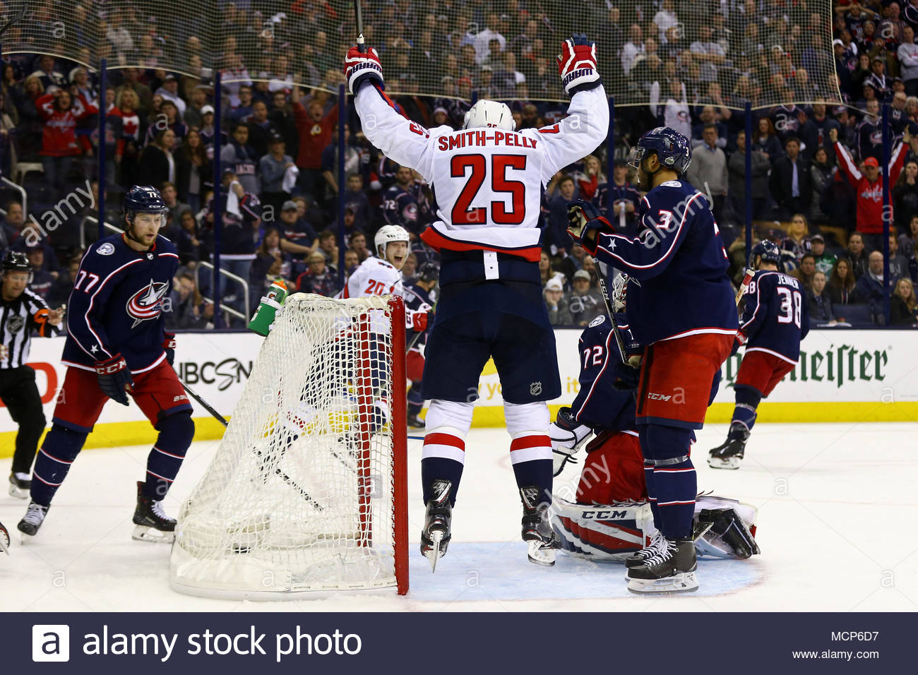 Washington Capitals right wing Devante Smith-Pelly (25) reacts to the game  winning goal by center Lars Eller (20) in the second overtime period during  Game ... 06677773ff4