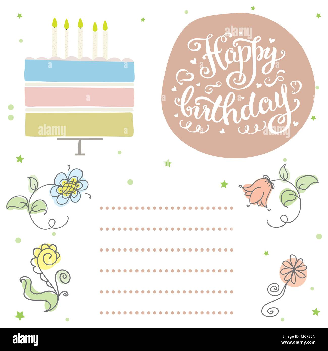 Happy birthday, cute invitation or greeting card with cake,candles ...