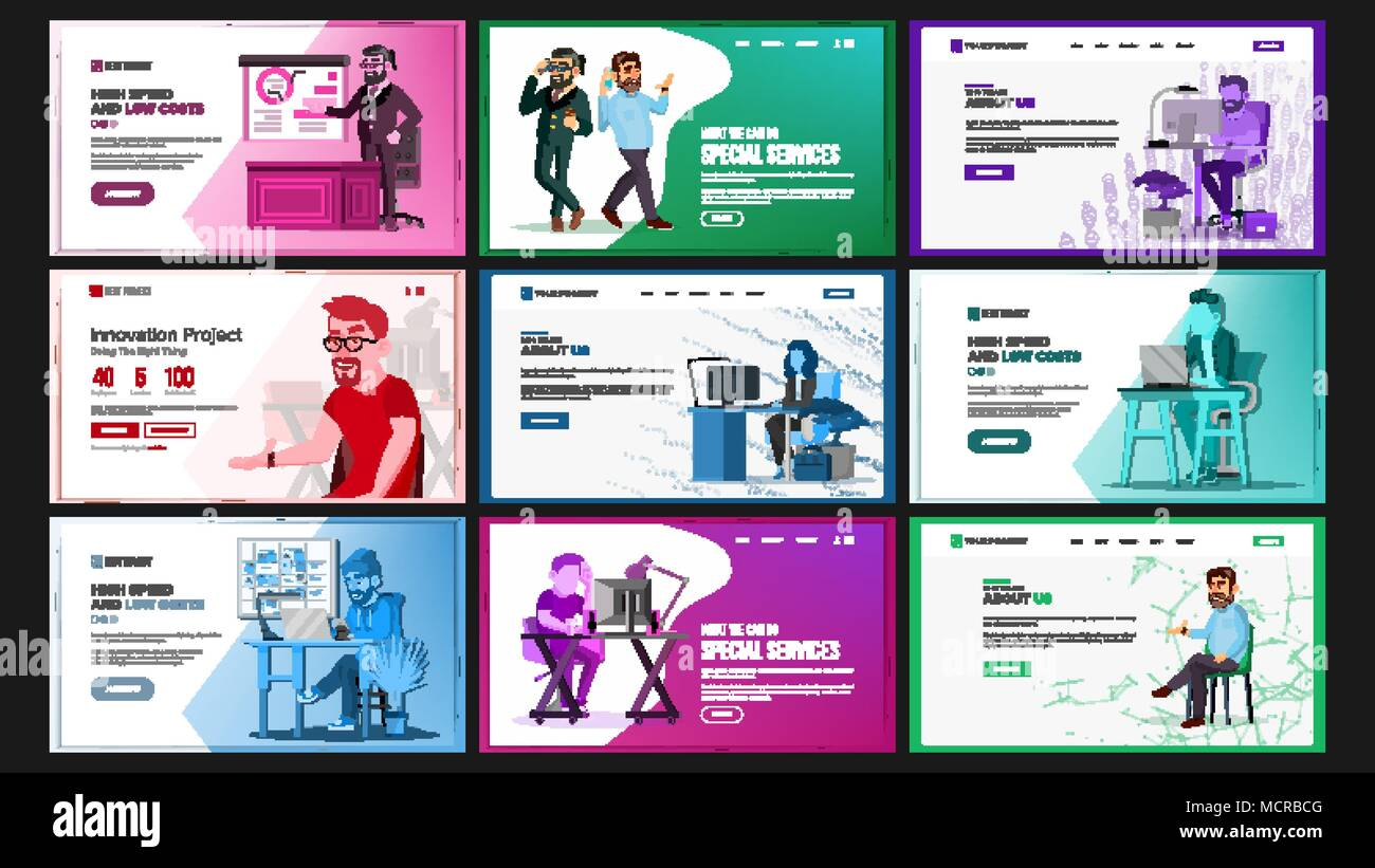 Website design template set vector business landing it technology website design template set vector business landing it technology modern online services architecture landing page web site cartoon person wajeb Image collections