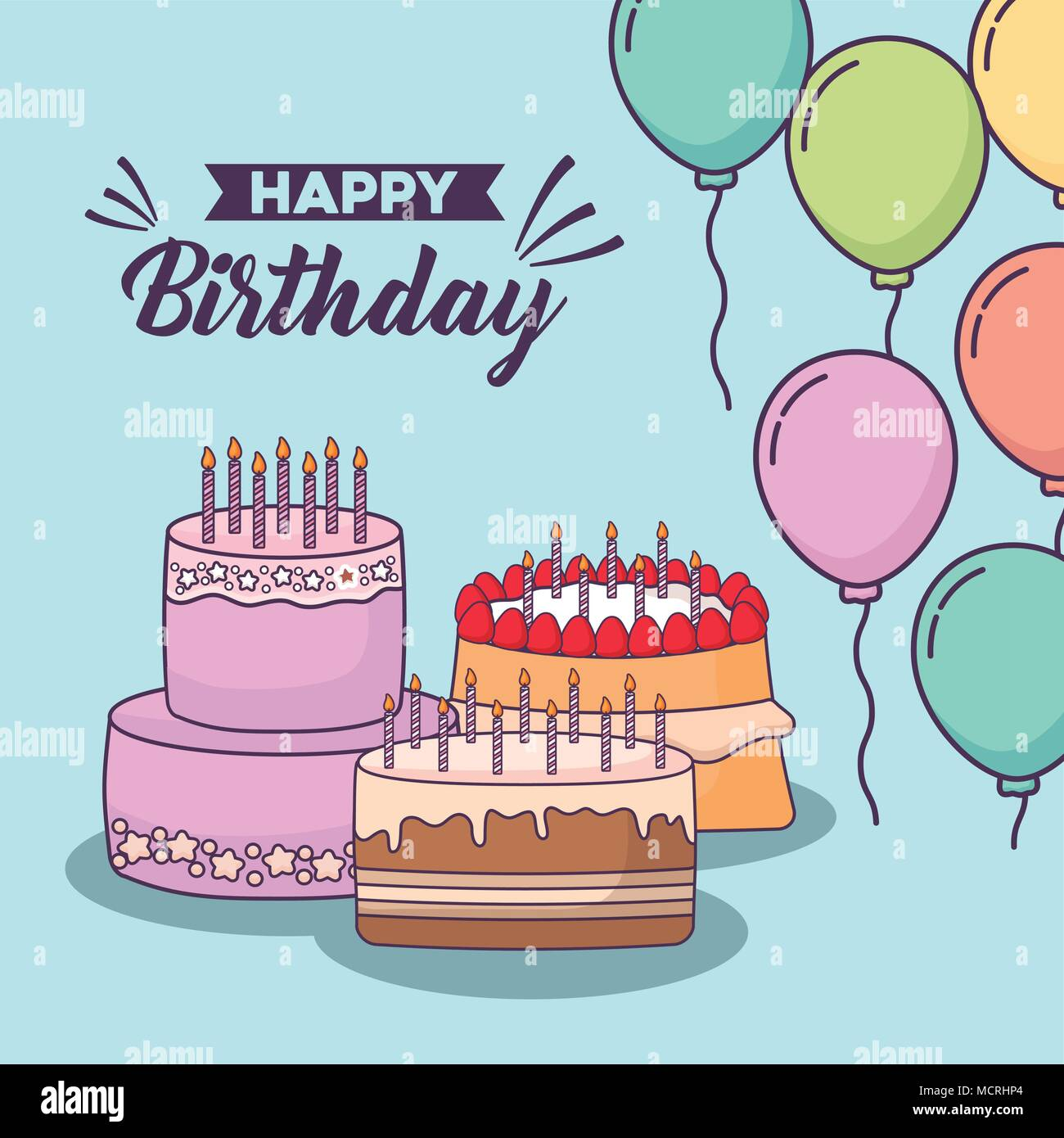 Happy Birthday Design With Birthday Cakes And Decorative Colorful