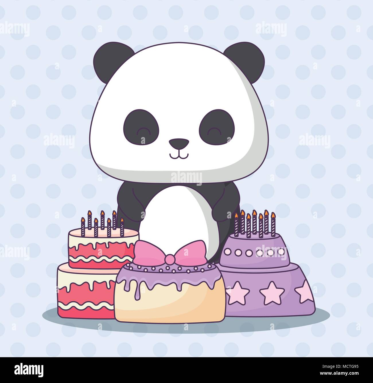 Cute Panda Bear With Birthday Cakes Over Blue Background Colorful