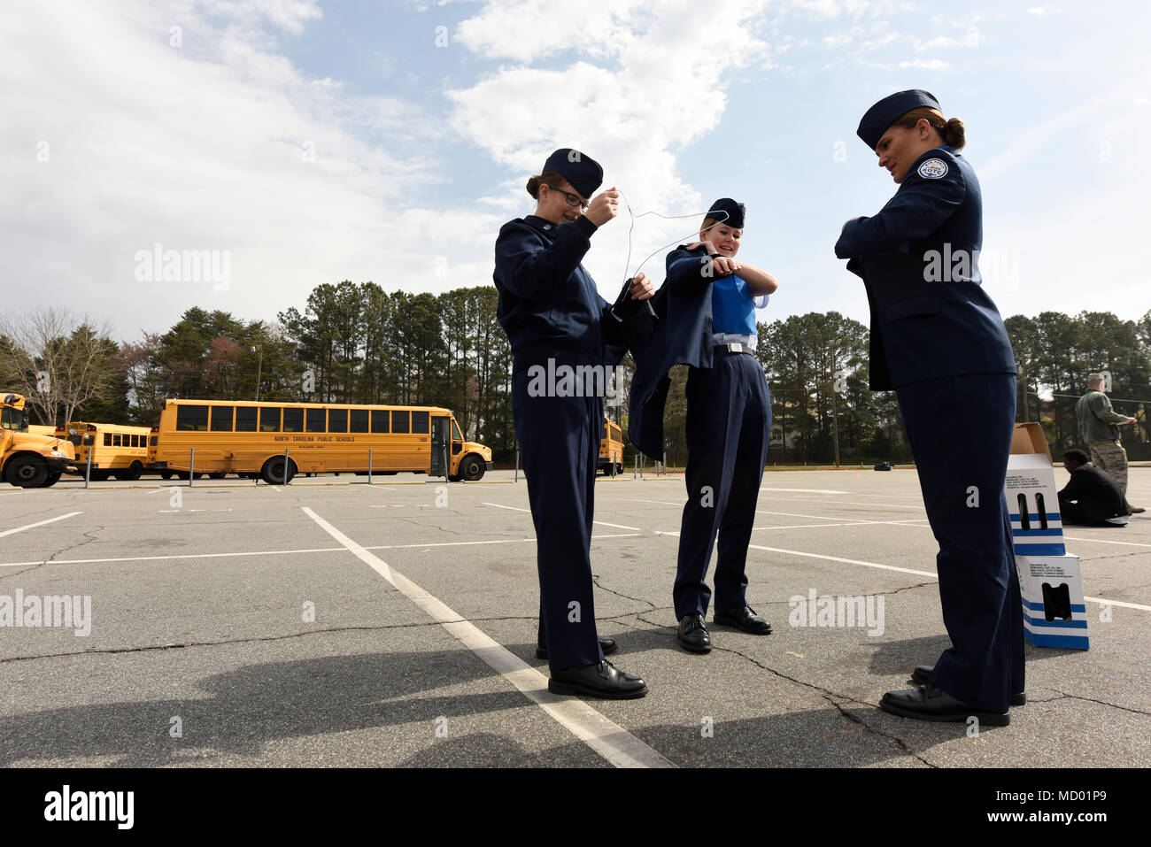 gets ready for the unarmed individual event at the patriot classic drill competition held at independence high school charlotte nc
