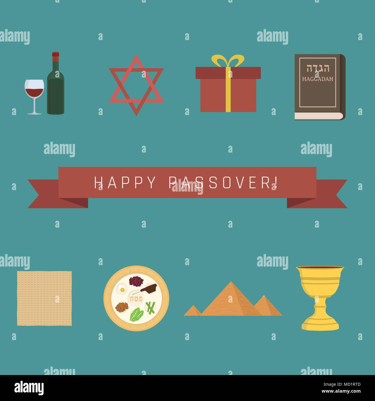 Passover Holiday Flat Design Icons Set With Text In English Happy