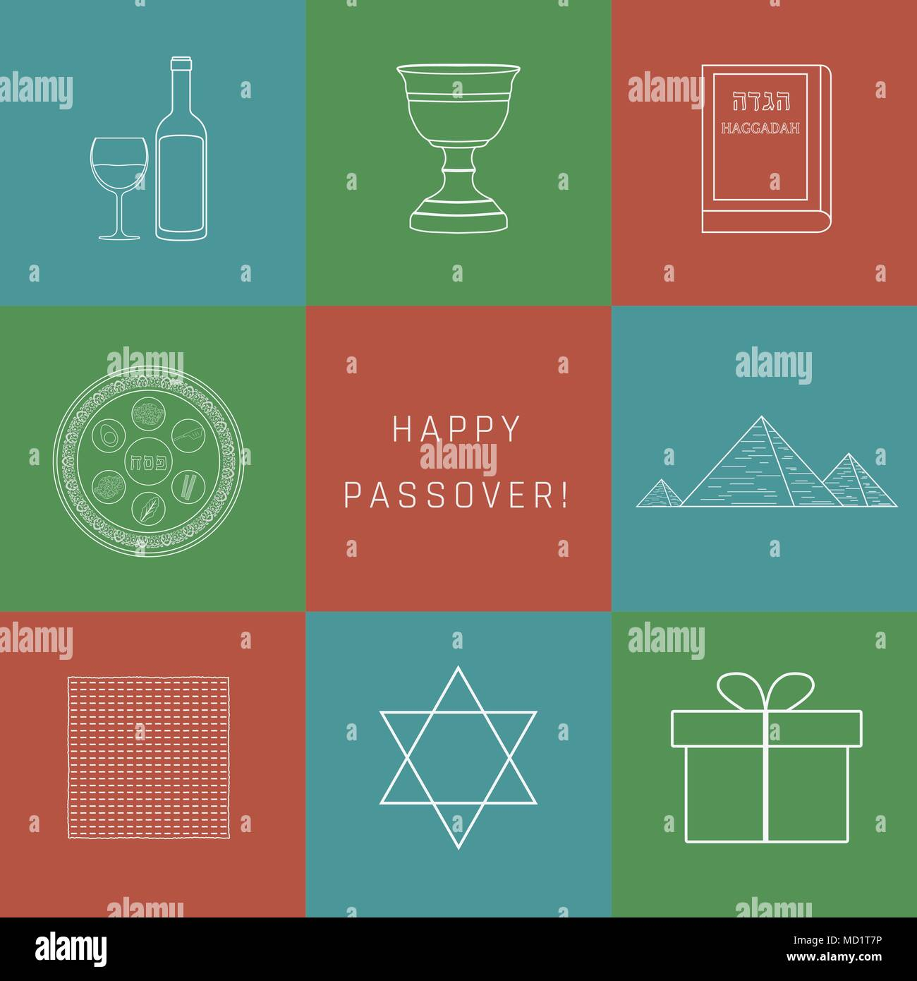 Passover Holiday Flat Design White Thin Line Icons Set With Text In