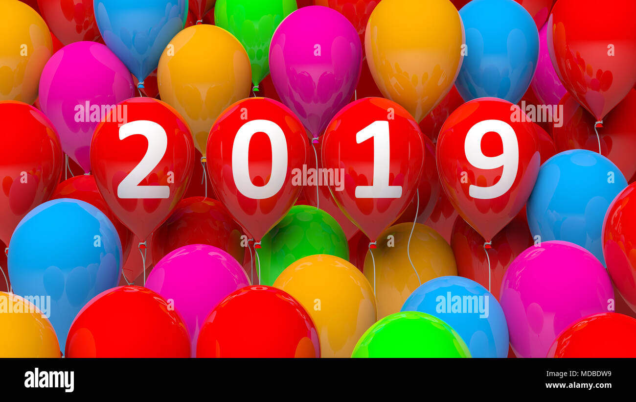 New Year 2019 On Red Balloons Colorful Balloons Background 3d