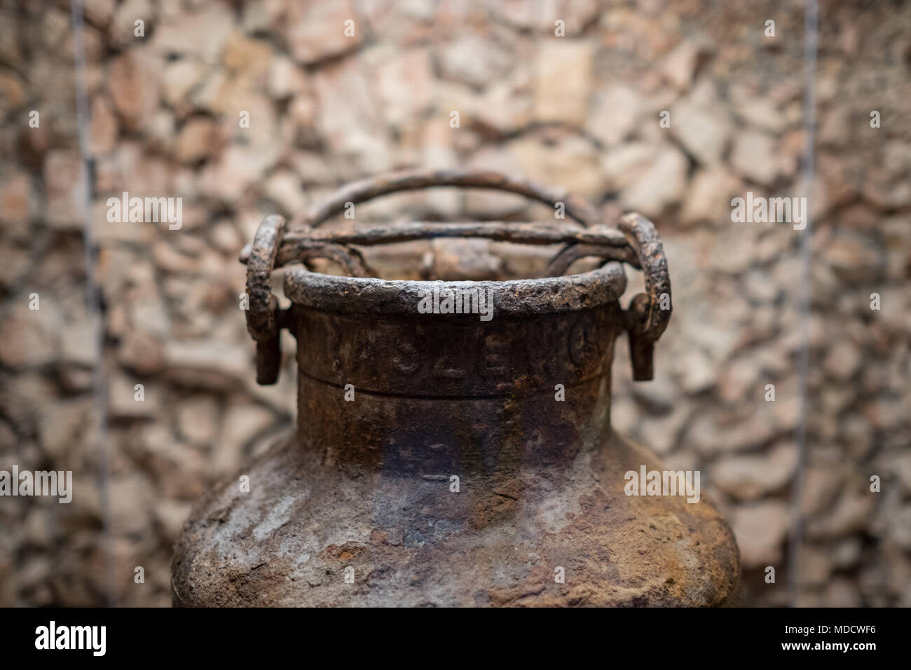 Warsaw Poland, Urn at the Jewish Historical Institute, in which documents were collected and buried by Jews in the Warsaw Ghetto during World War Two. - Stock Image