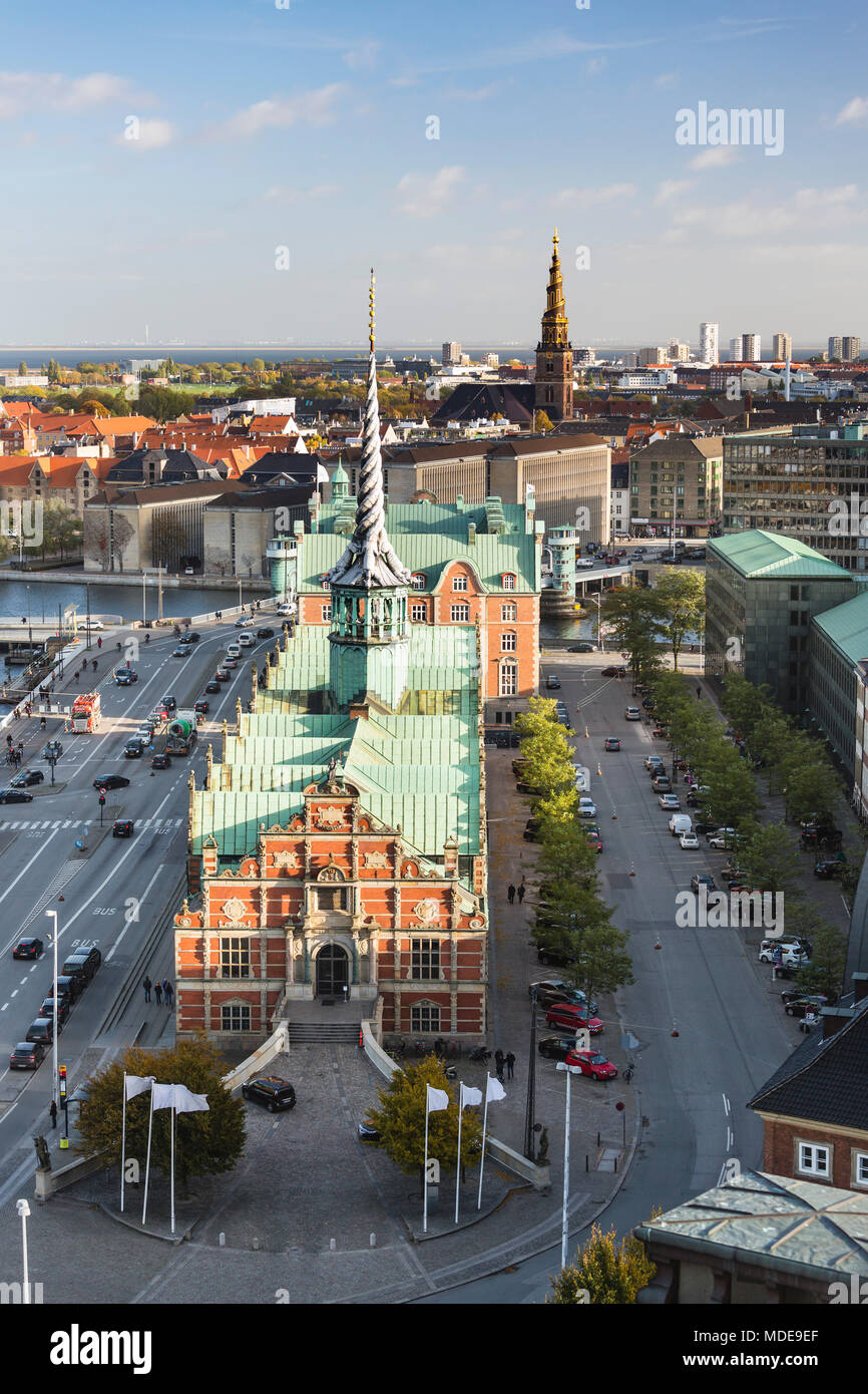 View over the old Borsen (stock exchange) to the Church of Our Saviour in Copenhagen, Denmark - Stock Image