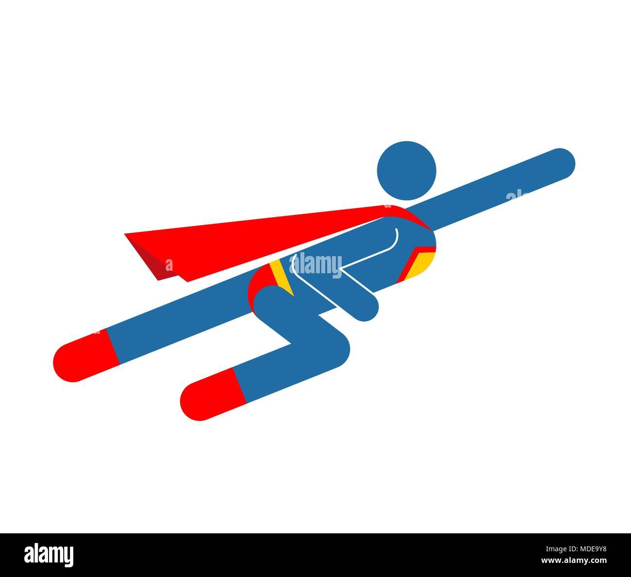 Superhero Pictogram Super Hero Sign Symbol Man Flying Icon Guy