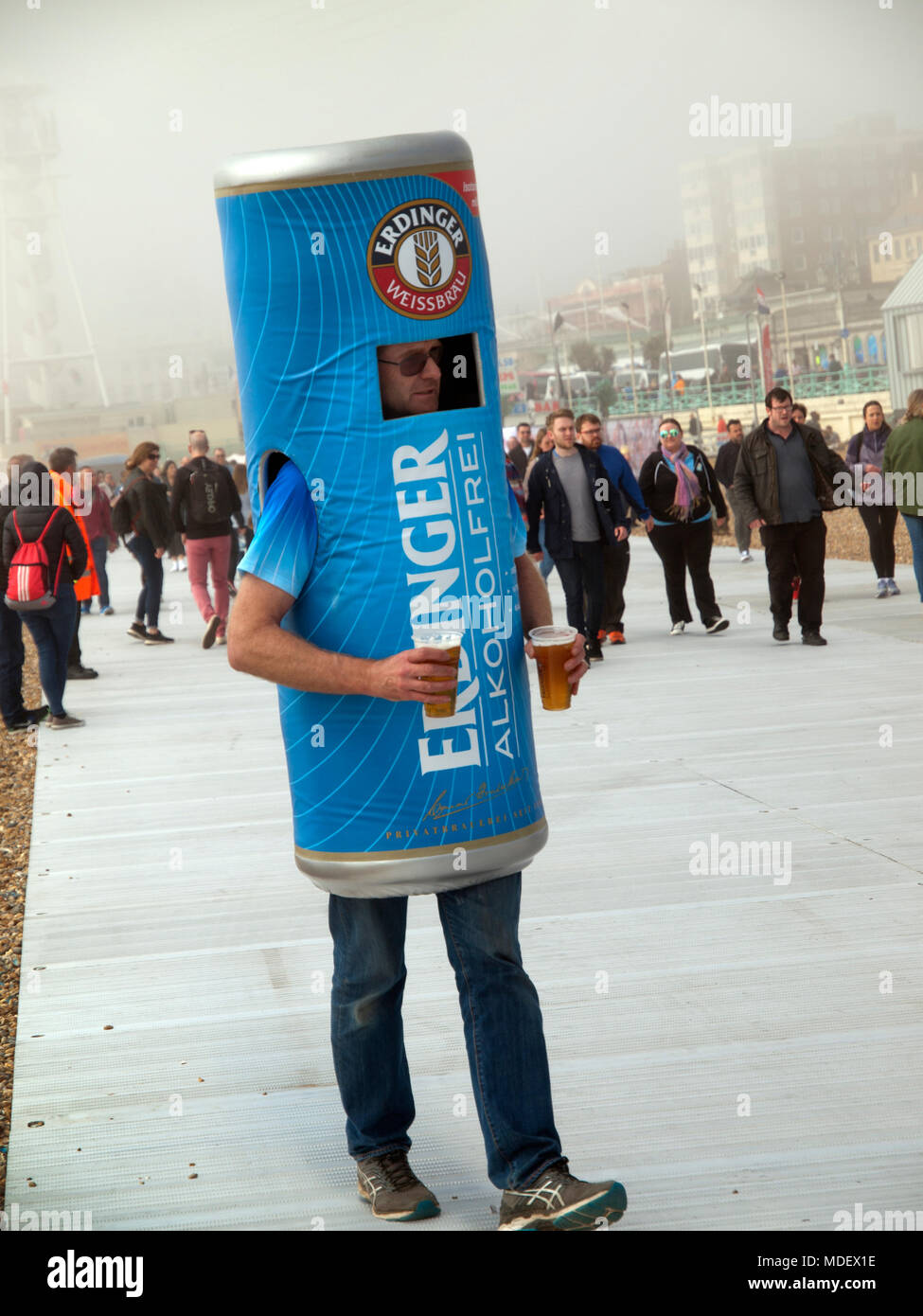 A promotional gimmick for Erdinger non alcoholic beer, on Brighton seafront - Stock Image