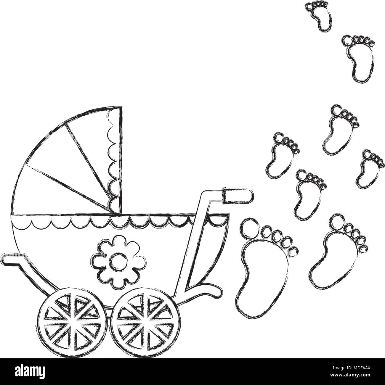 cute pram baby girl newborn footprints stock vector art