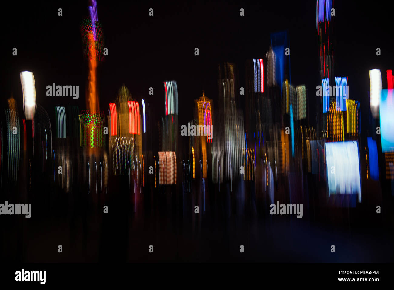 Abstract of the Pudong skyline at night viewed from the Bund in Shanghai, China - Stock Image