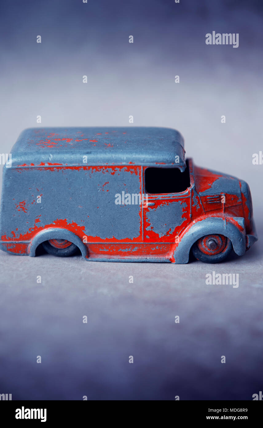 Close-up of an old toy van - Stock Image