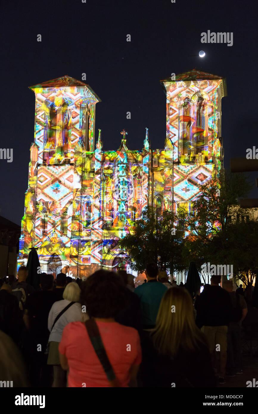 The Saga light show art projection, Cathedral of San Fernando, San Antonio, Texas USA - Stock Image