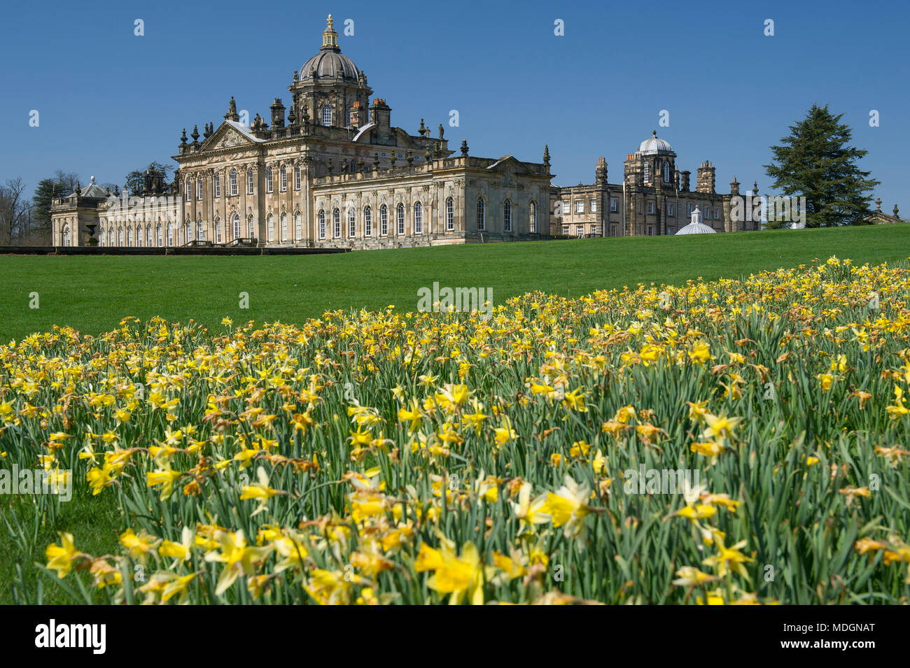 Castle Howard house and gardens which are a popular tourist attraction in North Yorkshire - Stock Image