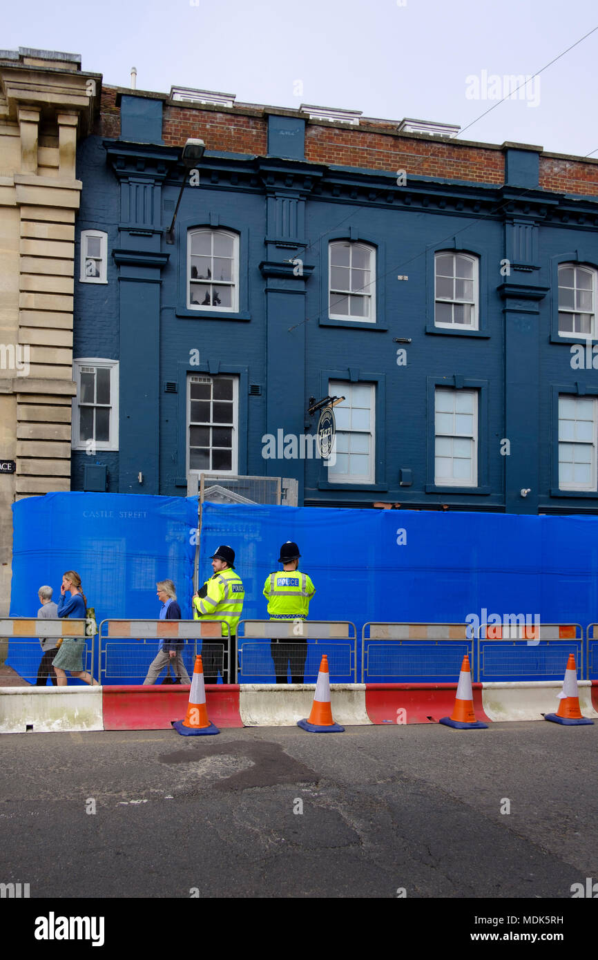 Salisbury 20th April 2018 New, more permanent, barriers are to be put up around the cordons in Salisbury city centre, as the decontamination process steps up after the novichok nerve agent  poisoning of the spy  Sergei Skripal his daughter Yulia Credit Paul Chambers Alamy Live News Stock Photo