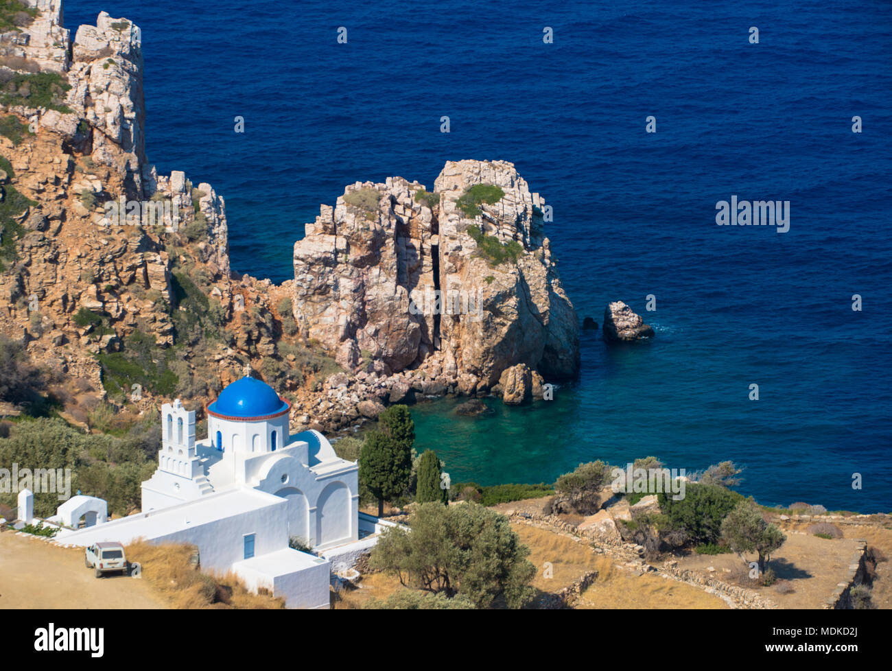 view at beautiful located church at Poulati, Sifnos, Greece Stock Photo