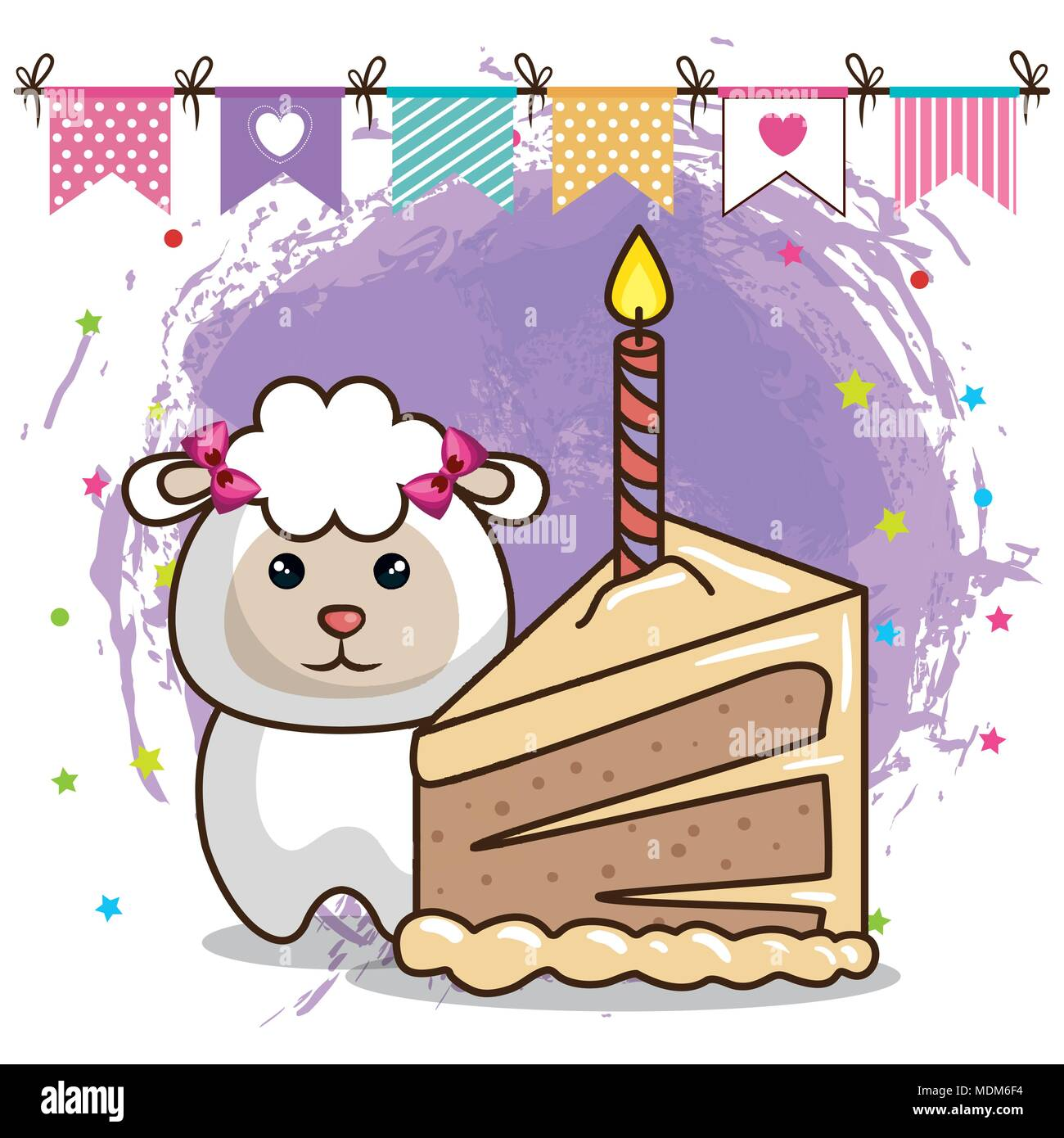 Happy Birthday Card With Cute Sheep Stock Vector Art Illustration