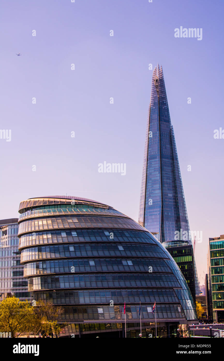 Sun rising over the Beautiful Landmarks of London. View of the Shard and London Bridge. Sensational Summer. - Stock Image