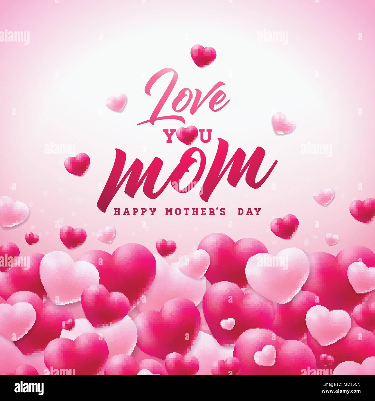 Happy Mothers Day Greeting Card Design With Heart And Love You Mom Typographic Elements On White Background Vector Celebration Illustration Template For