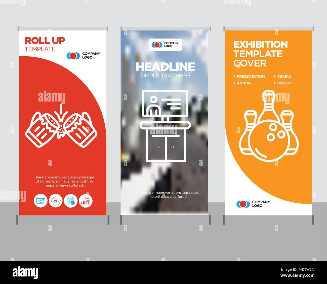 bowling modern business roll up banner design template tv creative