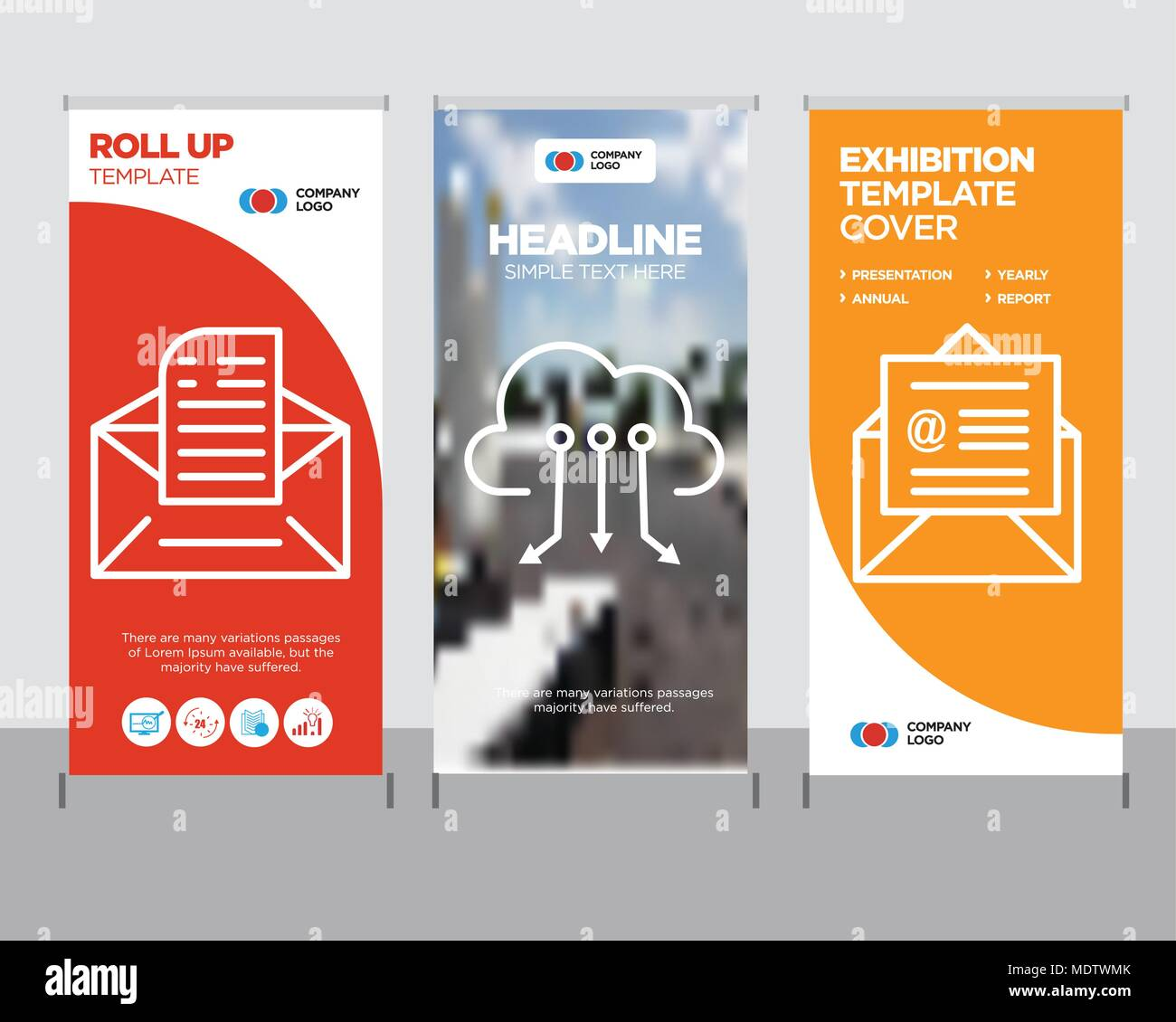 on mail modern business roll up banner design template cloud