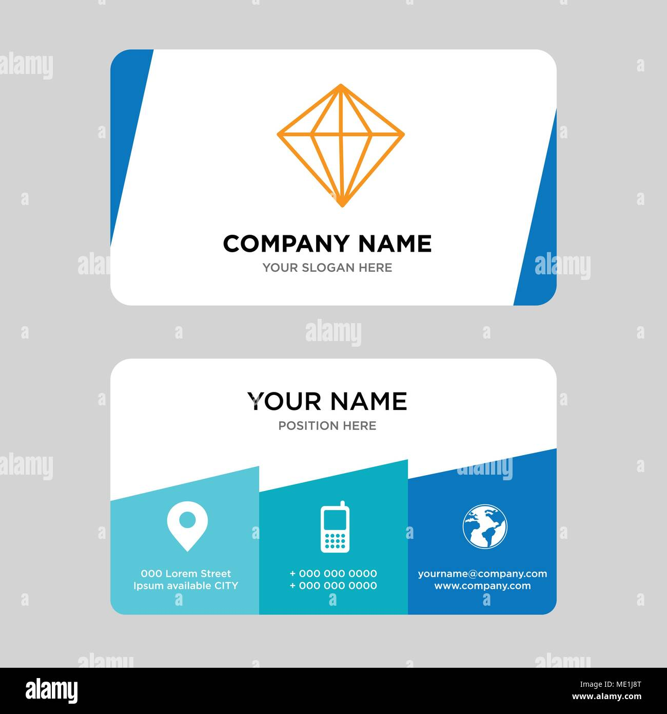Diamond business card design template visiting for your company diamond business card design template visiting for your company modern creative and clean identity card vector illustration colourmoves Gallery