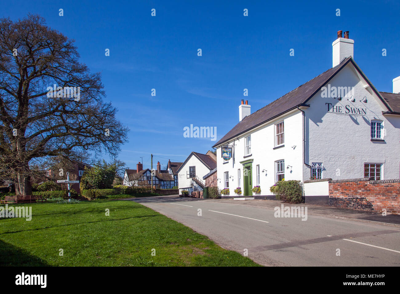 The village green and the Swan inn / public house at the South Cheshire rural countryside village of Marbury with black and white half timbered houses Stock Photo