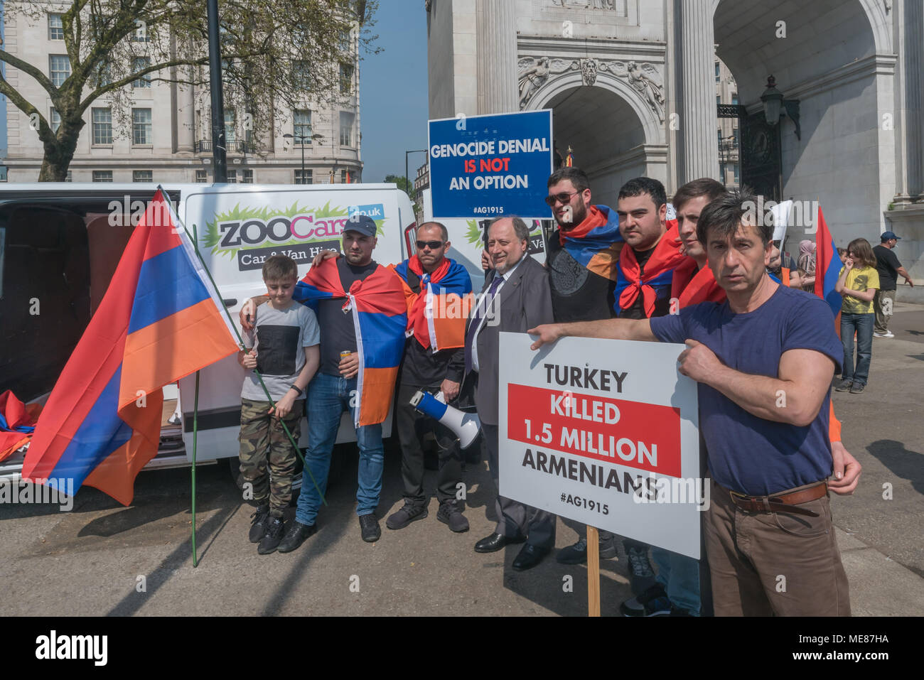 London, UK. 21st April 2018. Armenians meet to march through London from Marble Arch to the Cenotaph at the start of a series of events commemorating the 103rd anniversary of the beginning of the Armenian Genocide, and demanding the UK to follow the lead of many other countries and recognise the Armenian genocide. Between 1915 and 1923 Turkey killed 1.5m Armenians, around 70% of the Armenian population, but Turkey still refuses to accept these mass killings as genocide. Credit: Peter Marshall/Alamy Live News - Stock Image