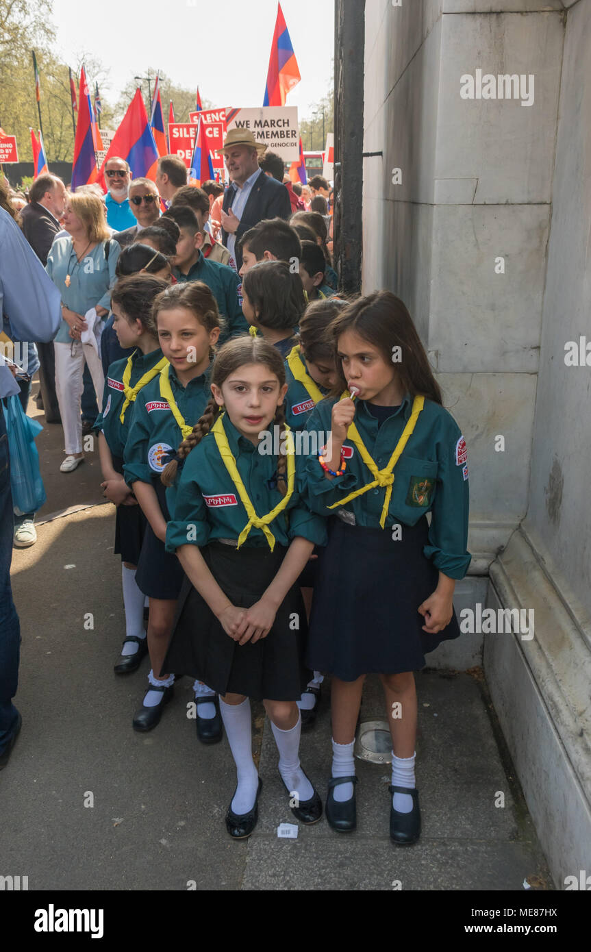 London, UK. 21st April 2018. Armenian Scouts get ready to  lead the Armenian march through London from Marble Arch to the Cenotaph at the start of a series of events commemorating the 103rd anniversary of the beginning of the Armenian Genocide. They demand the UK follow the lead of many other countries and recognise the Armenian genocide. Between 1915 and 1923 Turkey killed 1.5m Armenians, around 70% of the Armenian population, but Turkey still refuses to accept these mass killings as genocide. Credit: Peter Marshall/Alamy Live News - Stock Image