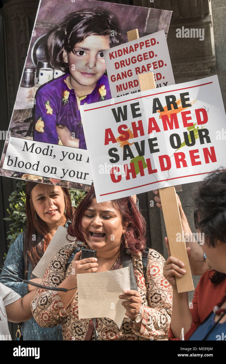 London, UK, 21 April 2018. London, UK. 21st April 2018. Protesters at India House call for the Indian government to take effective action against the rape culture that they say has been encouraged by members of the ruling BJP party, leading to an increasing number of crimes against women. Credit: Peter Marshall/Alamy Live News - Stock Image