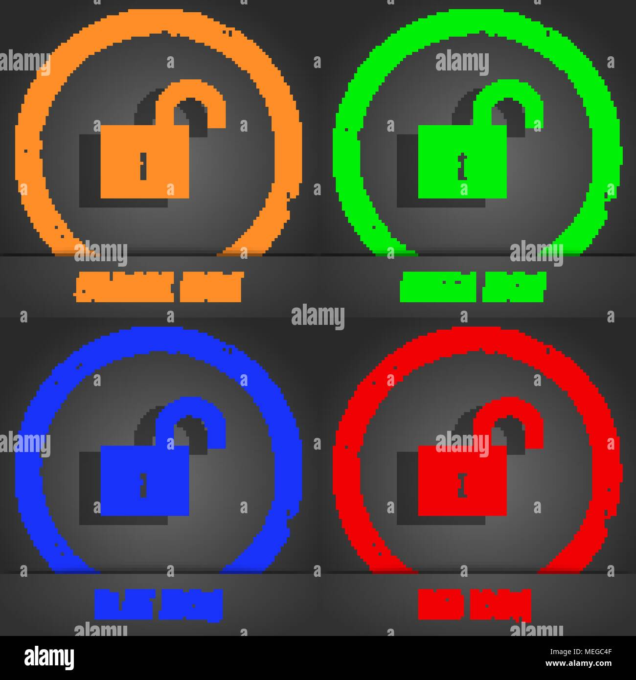 open lock icon symbol. Fashionable modern style. In the orange ...