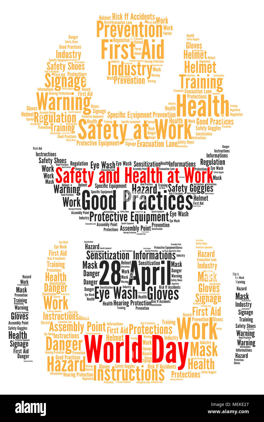 world day safety and health at work word cloud stock photo