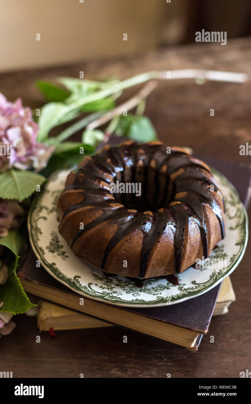 Yummy Chocolate Cake In Beautiful Vintage Ceramic Plate On Rustic