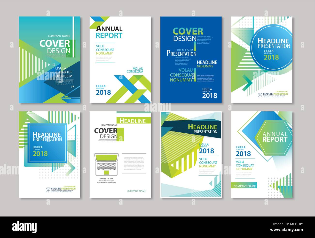 set of blue cover brochure flyer annual report design layout