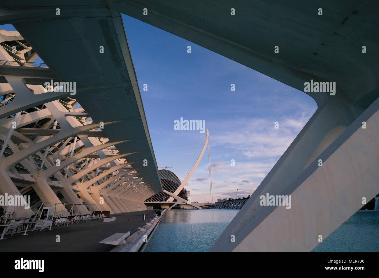 L'Umbracle building, with El Pont de l'Assut de l'Or in the background, City of Arts and Sciences, Valencia, Spain Stock Photo