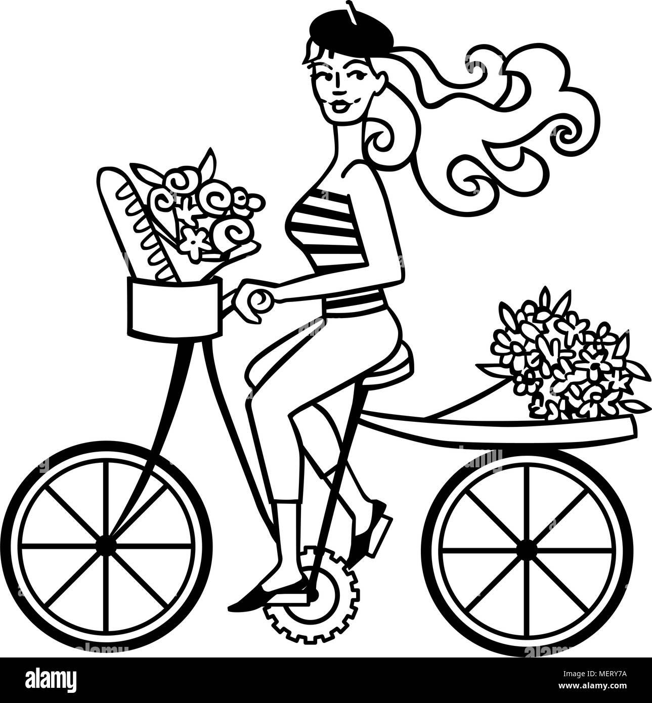 french girl on bike retro clipart illustration stock vector art rh alamy com Mountain Bike Clip Art Bike Rider Clip Art