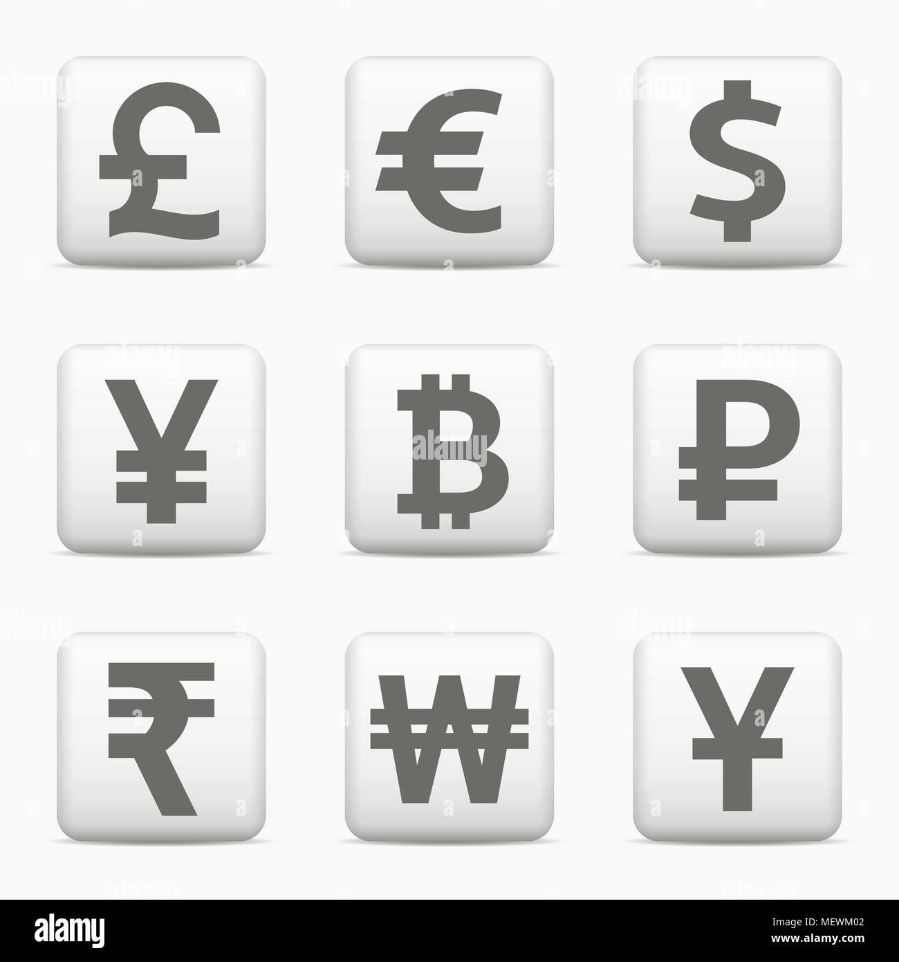 Currency Icons Set World Money Symbols Web Buttons Vector Eps10