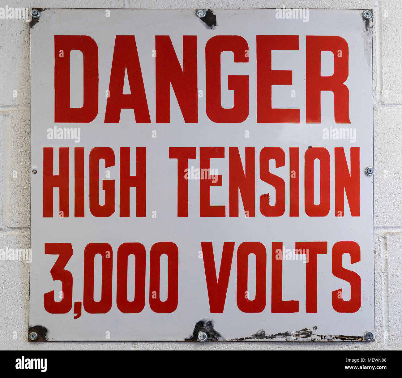 Danger Sign - High Voltage 3000 Volts - Stock Image