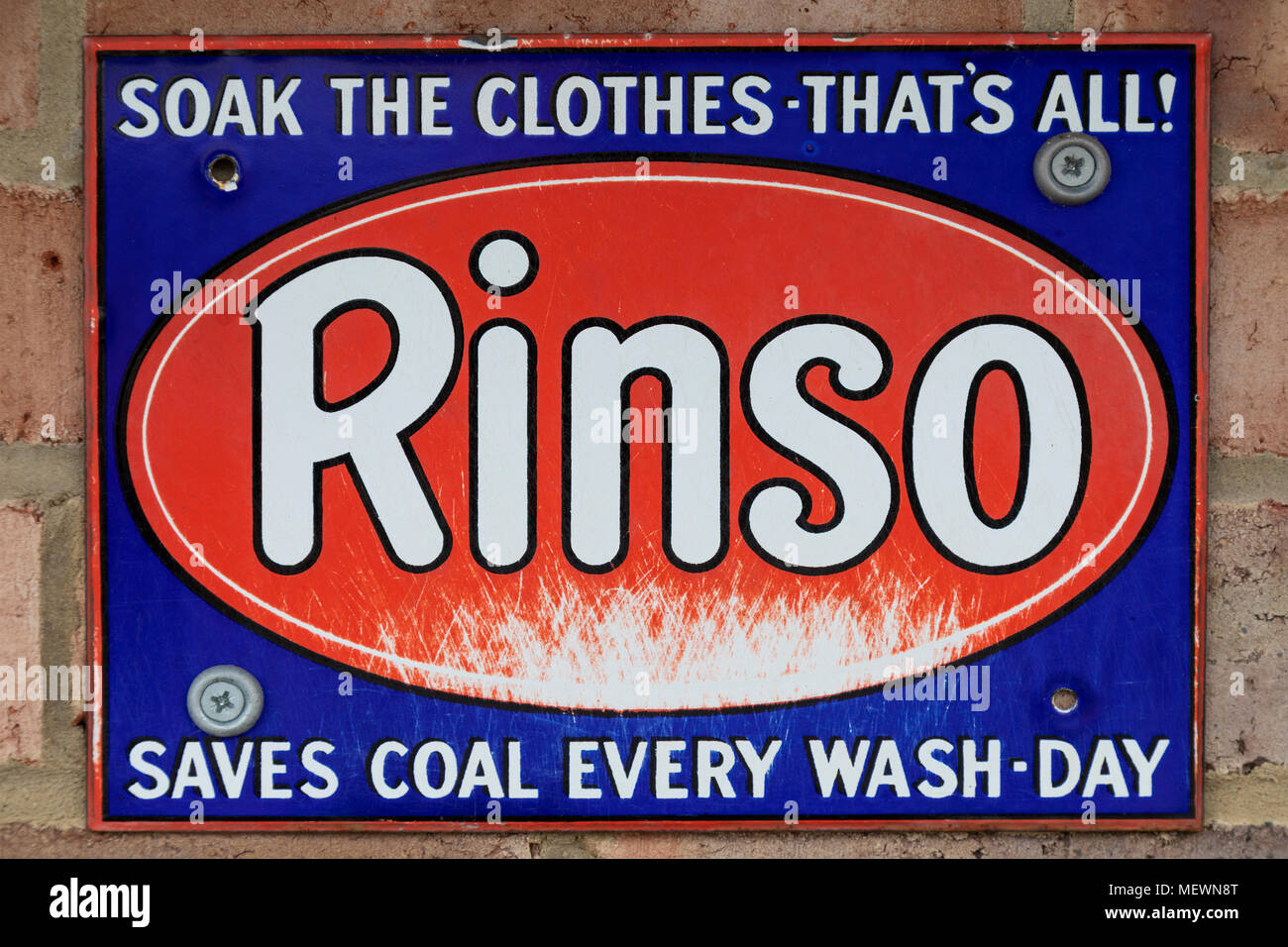 An old metal advertising sign for Rinso washing powder - circa 1913 - Stock Image