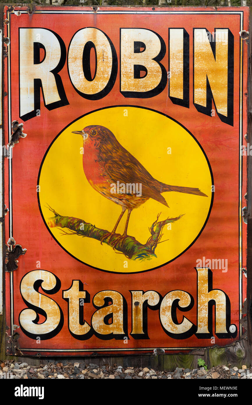 An old metal advertising sign for Robin Starch - circa 1913. - Stock Image