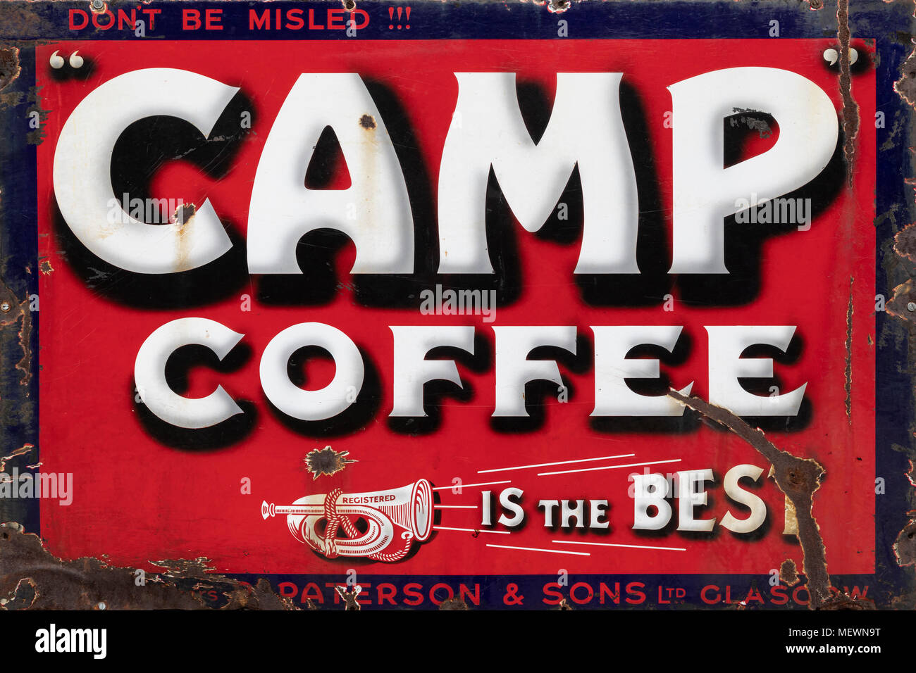 An old metal advetising sign for Camp Coffee - circa 1913 - Stock Image