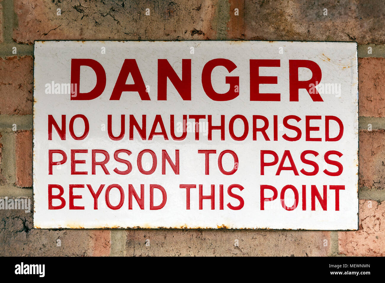 Warning Sign - No Unauthorised Access - Stock Image