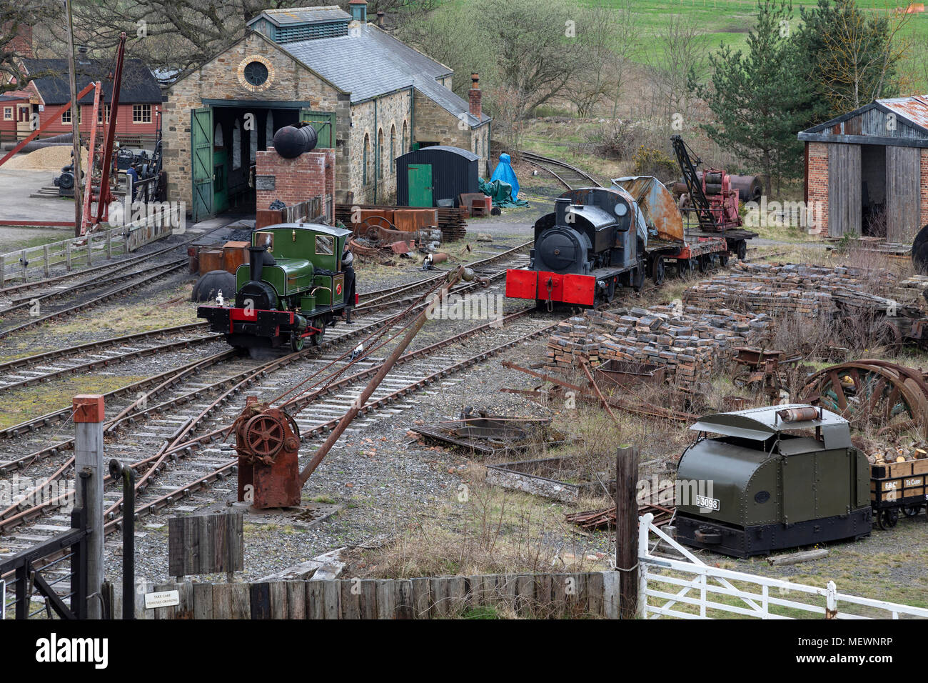 Goods shunting yard - Beamish Museum in the northeast of England - Stock Image