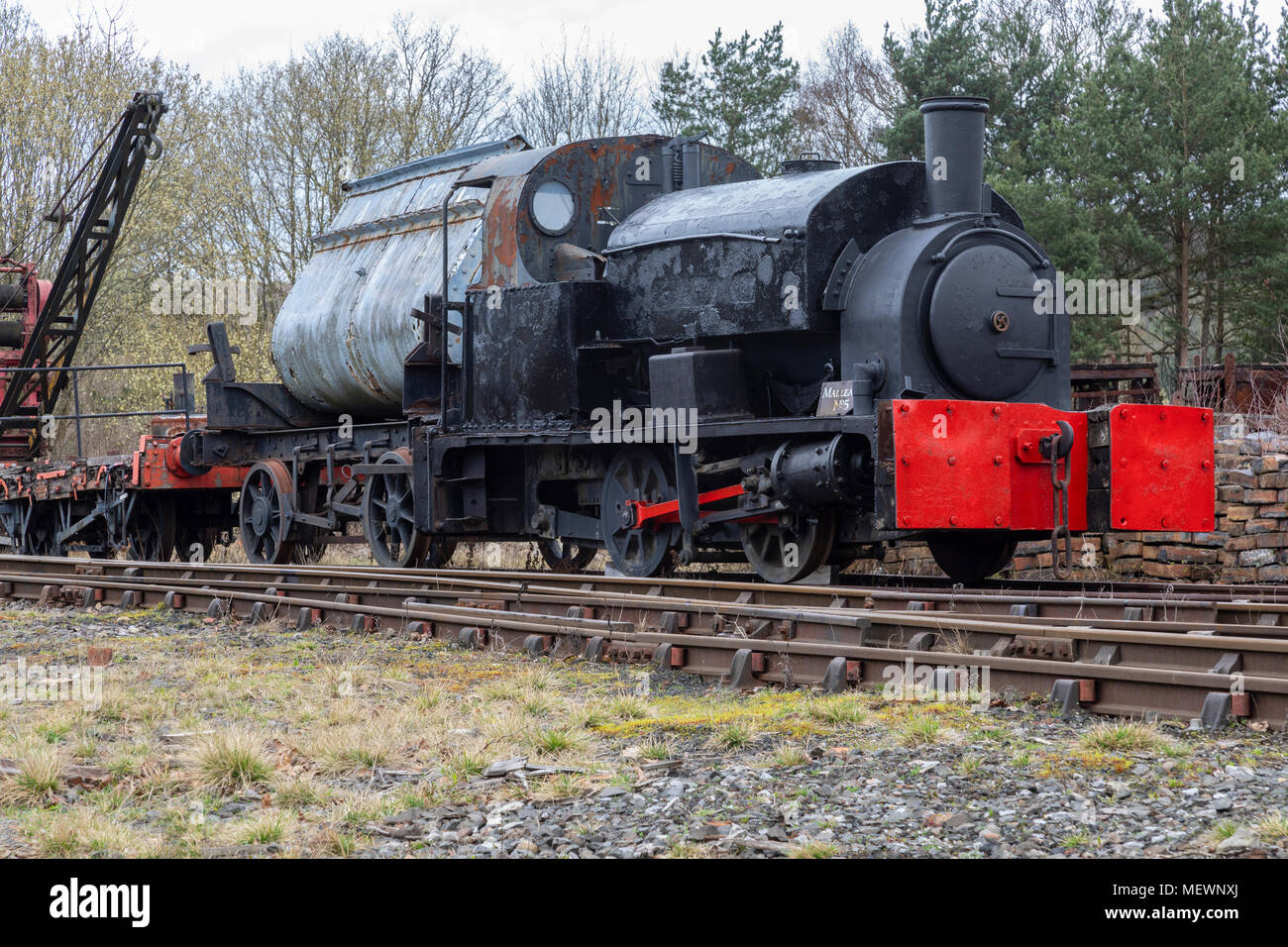 An old engine in the goods shunting yard - Beamish Museum in the northeast of England - Stock Image