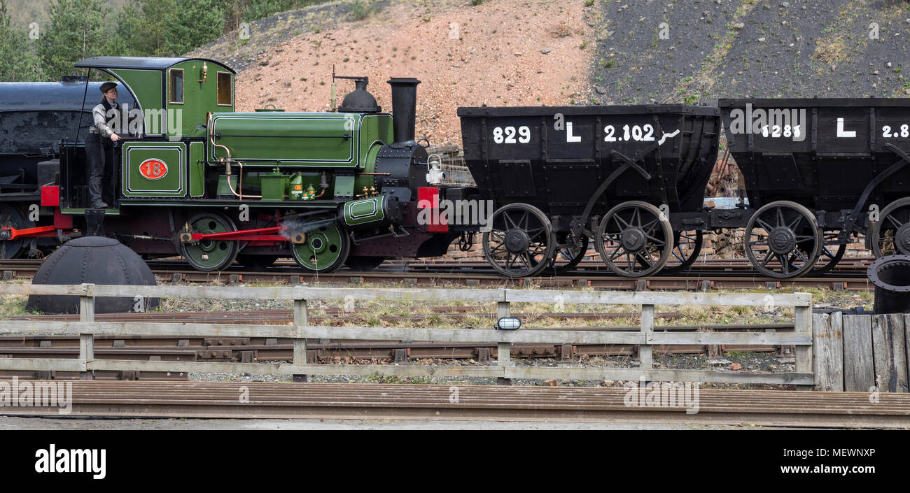 An old steam engine in the goods shunting yard at Beamish Museum in the northeast of England - Stock Image