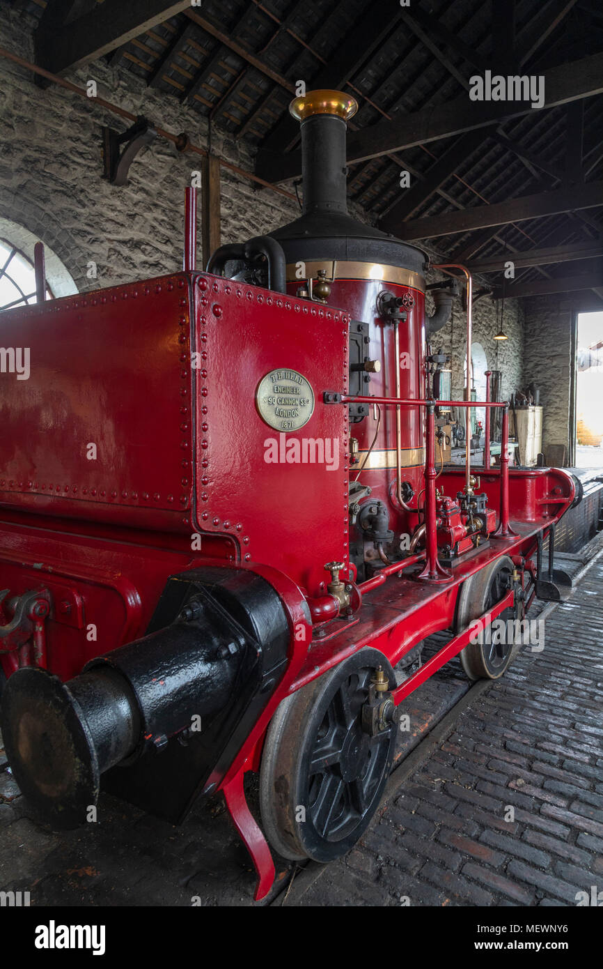 Old steam locomotive in an engine shed at Beamish Museum in northwest England - Stock Image