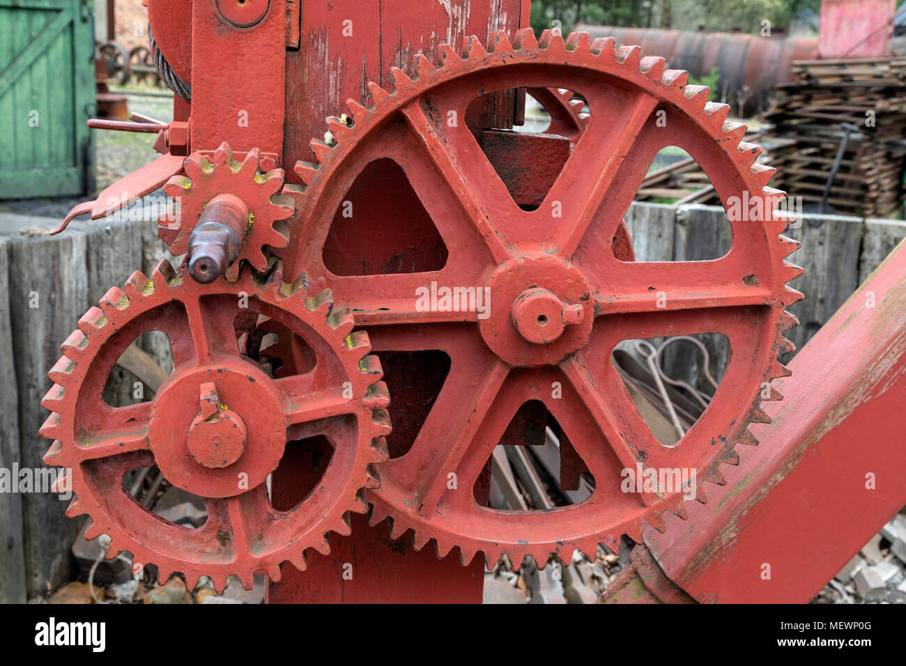 Industry - old cogs and gears on industrial machinery. - Stock Image