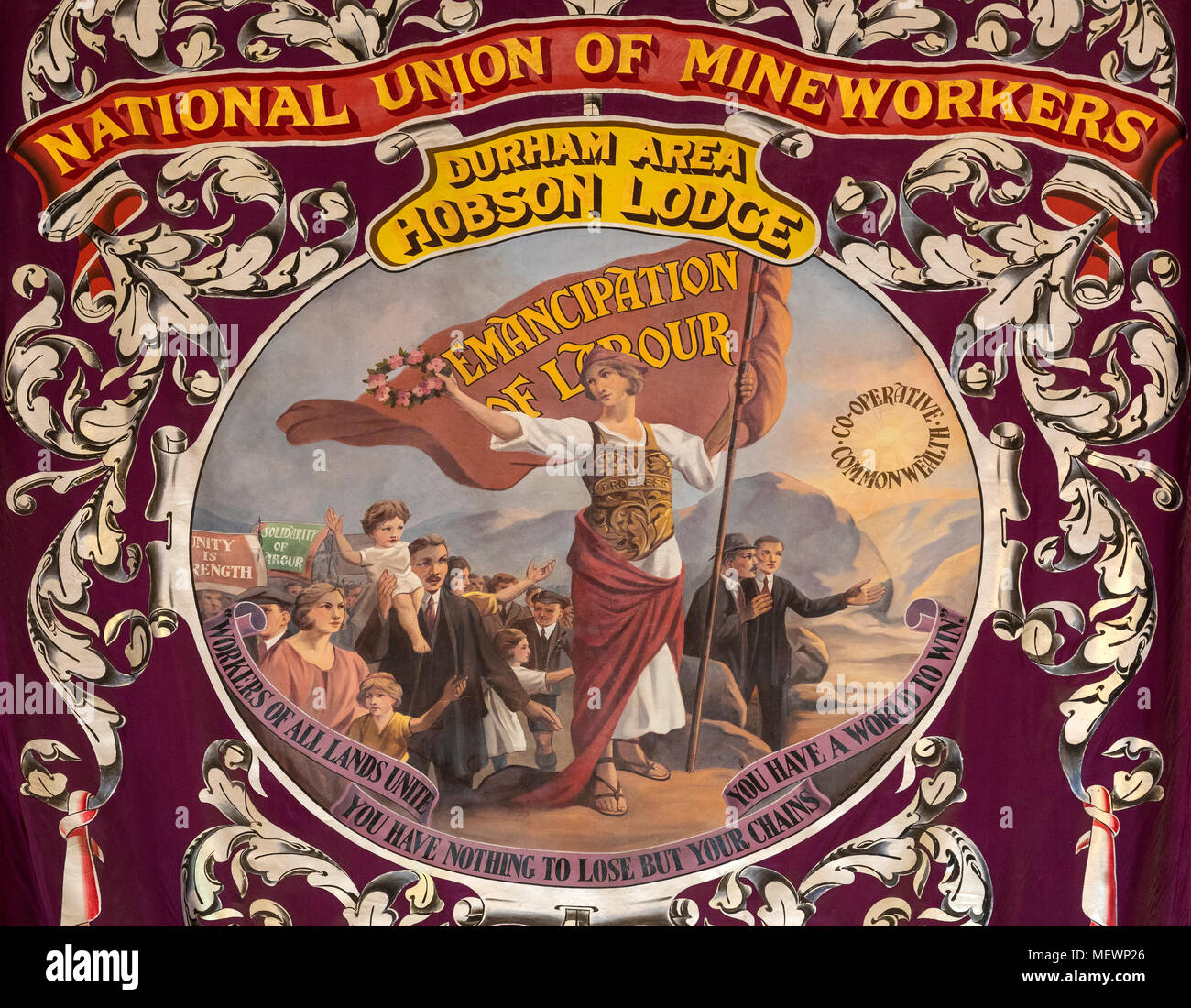 A banner of the National Union of Mineworkers - Emancipation of Labour - Northeast England. - Stock Image