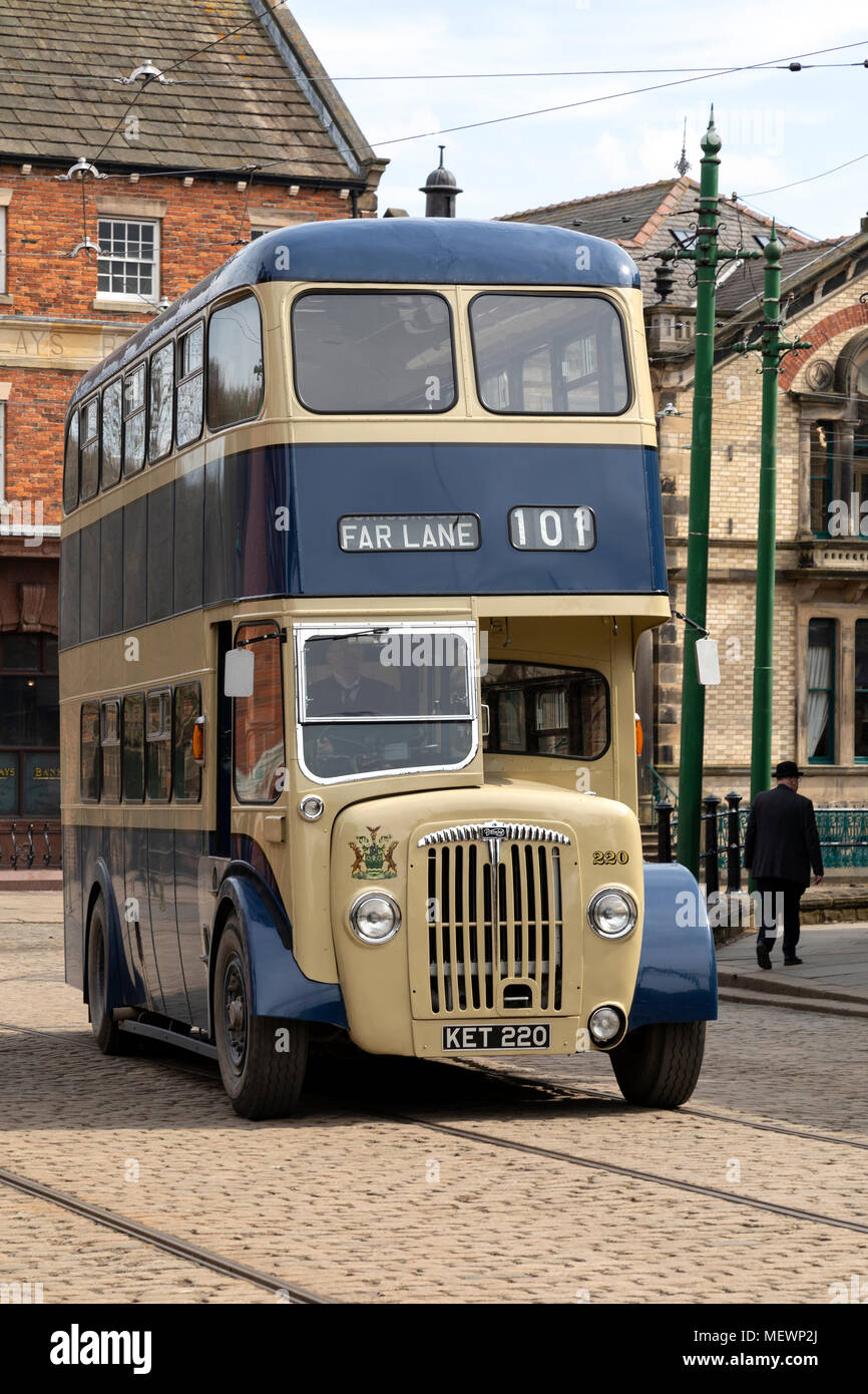 An old double decker bus in Beamish Museum in the northeast of England. - Stock Image